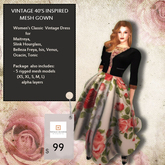Totally Random Floral ( Rosey) Retro Vinage Mesh Gown