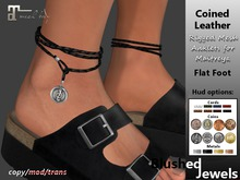 Blushed - Coined Leather Anklets - Flat