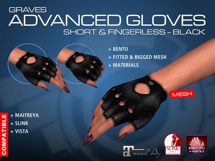 GRAVES Advanced Gloves -Short & Fingerless - Black - leather latex gloves