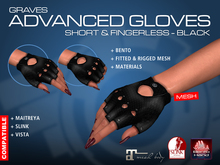 GRAVES Advanced Gloves -Short & Fingerless - Black - leather latex gloves