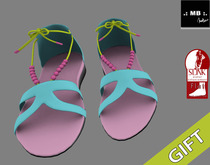 .: MB :. GIFT Teal Pink Flat Sandals Beadsy ~ SLINK