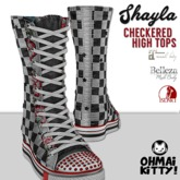 [OMK] Shayla Checkered Star High Top Sneakers (B/M/S)