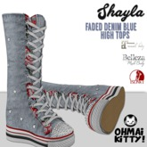 [OMK] Shayla Faded Denim Star High Top Sneakers  (B/M/S)