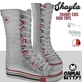 [OMK] Shayla Shabby Chic White Star High Top Sneakers (B/M/S)