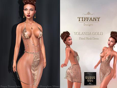 ::TD:: Yolanda Gold Mesh Dress ~ 16 Models HUD