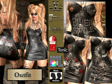 V-Twins - Biker Clothes - Scoundrel Biker Version **MESH Dress & Boots [Mesh Body Compatible] Maitreya Slink & Belleza