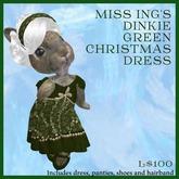 Miss Ing's Dinkie Green Christmas Dress Set