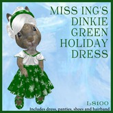 Miss Ing's Dinkie Green Holiday Dress Set