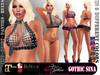 PROMO Mesh Outfit GOTHIC SINA - Fatpack - Top+Skirt+Shoes with Skulls and Cross+Thongs