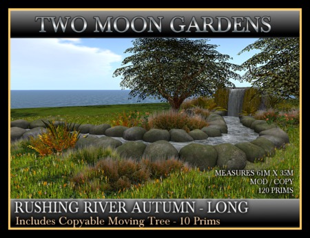 RUSHING RIVER - AUTUMN - LONG VERSION. Landscape Garden stream with waterfall