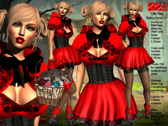 ** LITTLE RED RIDING HOOD V3 THEME COSTUME COMPLET OUTFIT