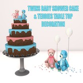 WCP ~ TWINS BABY SHOWER CAKE & TABLE DECORATION