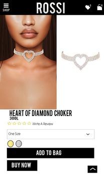 Rossi. Heart Of Diamonds Choker -Silver