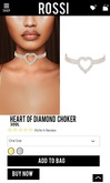 Rossi. Heart Of Diamonds Choker -Gold