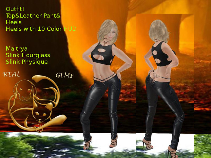 [RG] Skinny Leather Jeans, Top & Heels Outfit (Box)