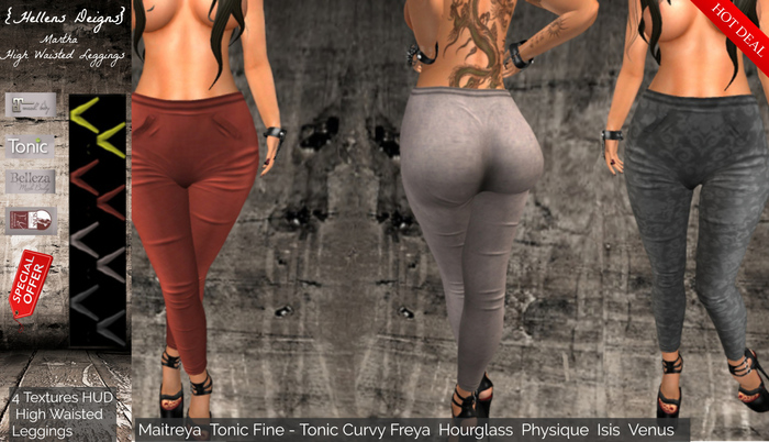 {Hellens} High Waisted Leggings Martha Maitreya Tonic Fine-Curvy Hourglass Physique Isis Venus Freya 002