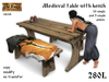 Medieval table and bench with furry skins - Old World - Rustic