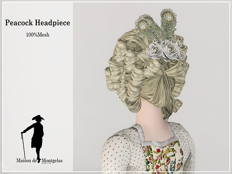 MdM - Rose and feathers Headpiece