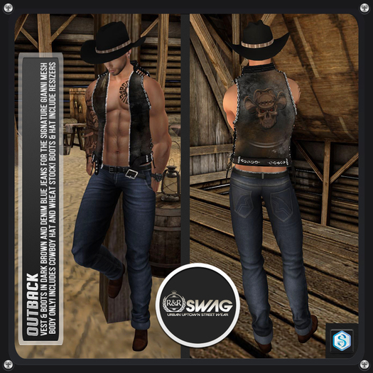 [RnR] Swag Outback Cowboy & Country Western Outfit with Vest, Denim Jeans, Boots, Cowboy Hat for Signature Gianni!