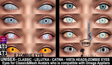 Second Life Marketplace Nirvana Fashion Zombie Eyes 1 Omega Appliers Halloween Eyes