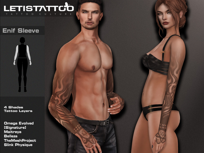 Letis Tattoo :: Enif Sleeve Tattoos Bakes On Mesh & Legacy Maitreya and more Appliers