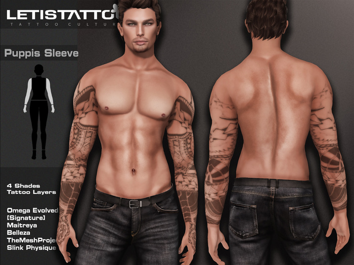 Letis Tattoo :: Puppis :: Sleeve tattoo With Omega Legacy Maitreya Signature and more Appliers