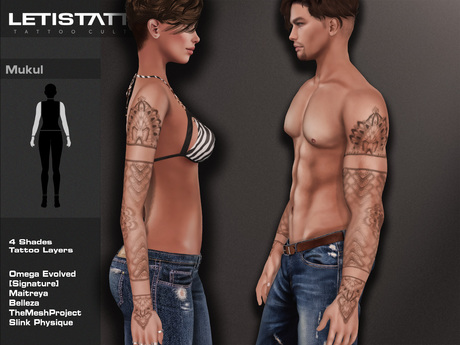 Letis Tattoo :: Mukul :: Sleeve tattoo With Omega Legacy Maitreya Signature and more Appliers