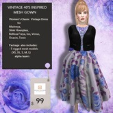 Fitmesh Retro Blue Rose Gown