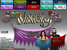 [SuXue Mesh] Happy Birthday 10 Colors Hanging Banner Resize