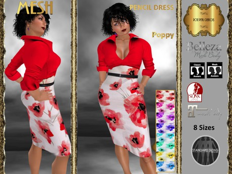 Second Life Marketplace Rpc Mesh Poppy Skirt Blouse Pencil Dress With Hud Reduced