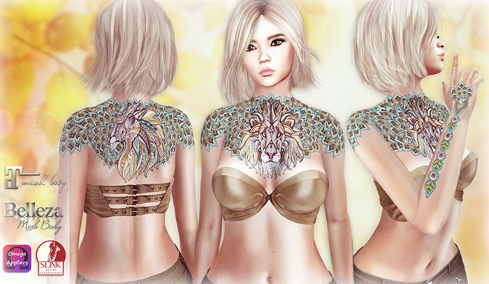 Lion Tattoo Appliers (Maitreya, Slink, Belleza, Omega HUD)