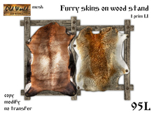 Furry skins on wood stand v4 - Old World - Medieval / Rustic