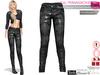 Dae, Obj, Fbx, And Texture Files  Black Damask Printed Jeans Pants Slink, Maitreya, Belleza