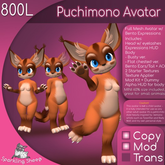 Puchimono Avatar (Bento ears and tail included)