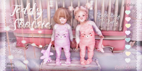* {.:Little Stars.:} * Teddy Footie PJ - Fatpack (non-fitted)