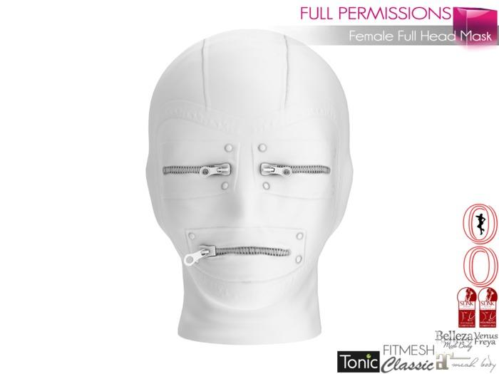 Full Perm Female Full Head Mask Slink, Maitreya, Belleza,Tonic, Ocacin Voluptuous +