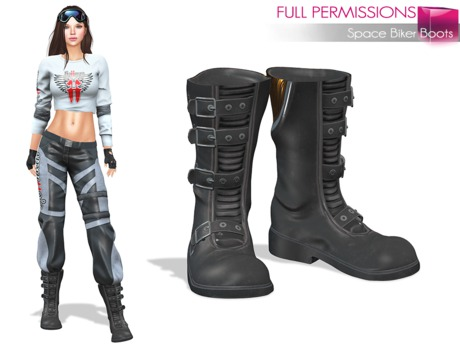 Full Perm Space Biker Boots None Rigged