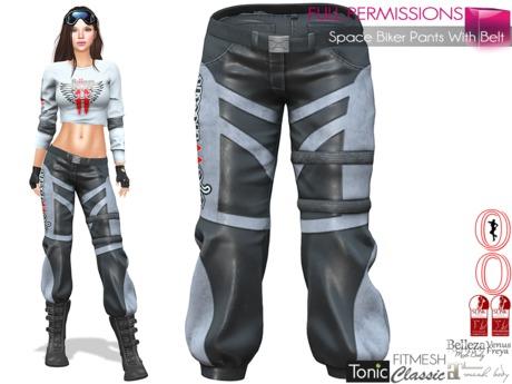 Full Perm Space Biker Pants With Belt Slink, Maitreya, Belleza,Tonic, Ocacin Voluptuous +