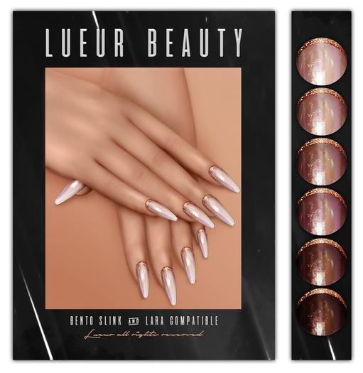 // L // - Gold Sparkle Nails - BENTO - Slink&Lara