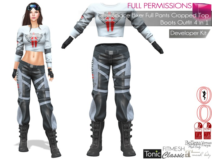 Dae, Obj, Fbx, Texture Files  Space Biker Full Pants Cropped Top Boots Outfit Slink, Maitreya