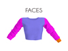 Faces one arm rolled up long sleeves round neck cropped biker top