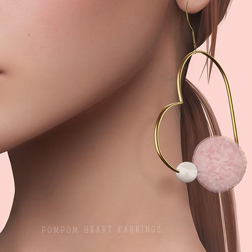 .Yen. PomPom Heart Earrings- Pink