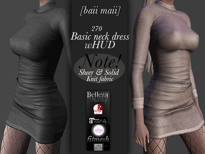 baii maii 270 Basic neck dress wHUD Dress Mesh Maitreya Slink Belleza TMP Apparel Clothes Woman's Gown Knit