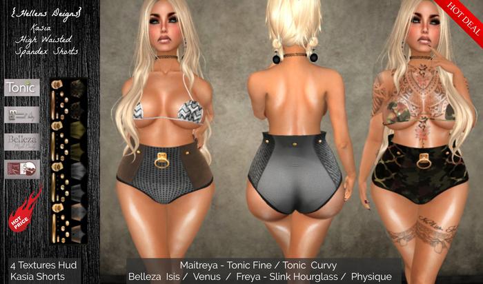{Hellens} High Waisted Spandex Shorts Kasia Maitreya Tonic Fine Tonic Curvy Hourglass Physique Isis Venus Freya 001