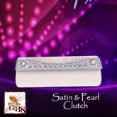 *DBS* Ladies Accessorie - White Satin & Pearl Clutch Bag