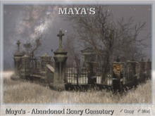 Maya's - Abandoned Scary Cemetery-Fog-Dead Tree-Grave-Scary Sound-Animations-Skeleton-Ghost-Crypt-Fence-Crow-Bench