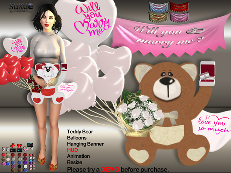 [SuXue Mesh] FATBACK Will You Marry Me,Teddy Bear Alette, with Hud, Balloons, Hanging Banner, Holding Animation, Resize