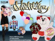 [SuXue Mesh] FATPACK Antonio Happy Birthday Teddy Bear Hud Balloons Bouquet of Roses 2 Holding Pose Resizable