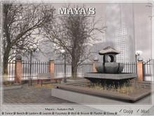 Maya's - Autumn Park ~ Bench,Lantern,Leaves,Bird,Grass,Fountain