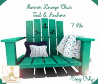 {BLC} Summer Lounge Chair-Teal/Anchors (Boxed}